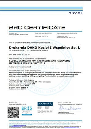 Certyfikat BRS DAKO